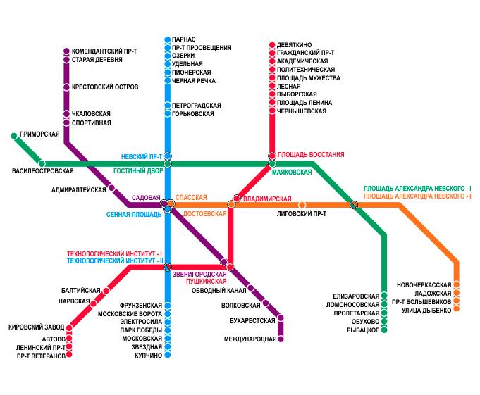 карта метро Санкт-Петербург